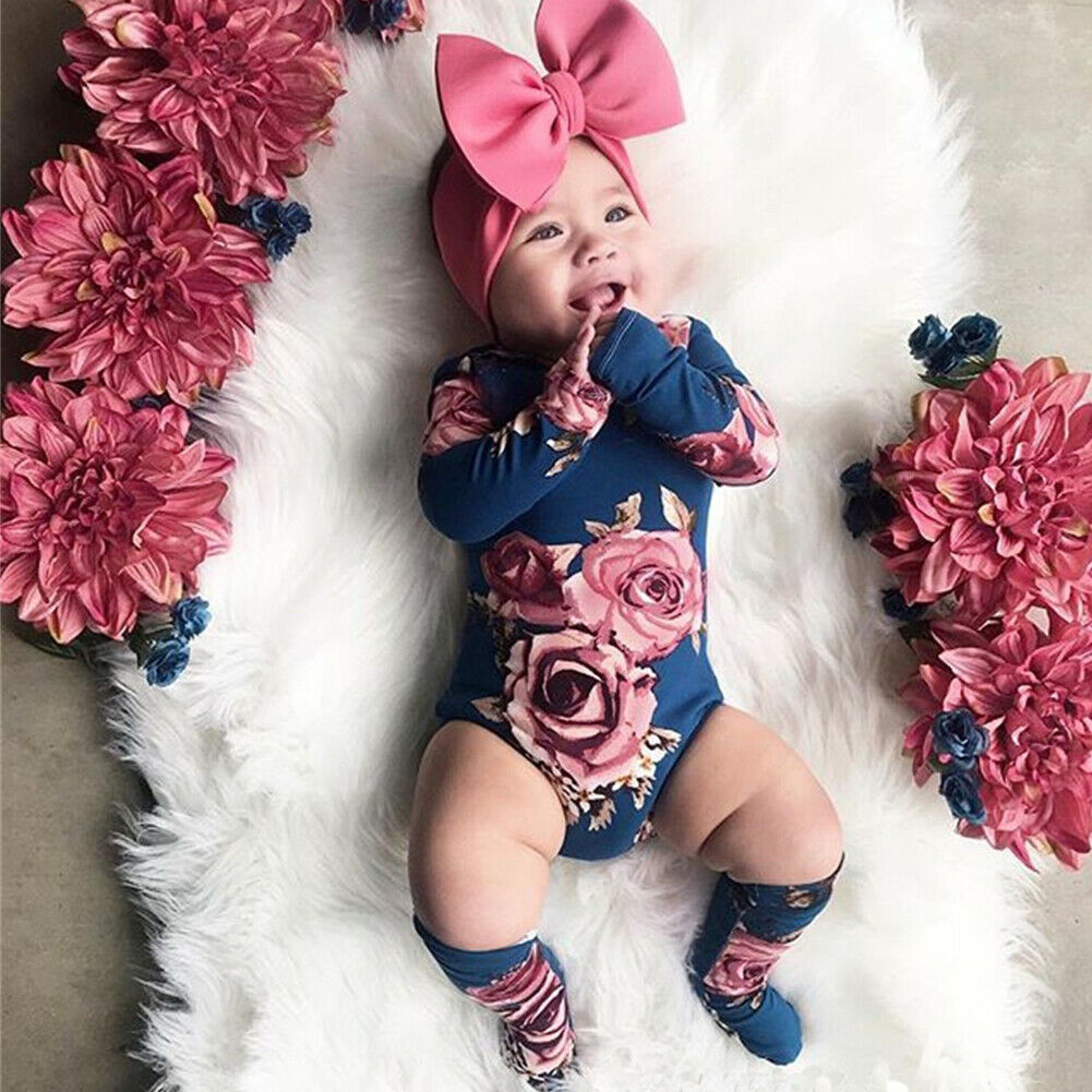 2020 Body Baby Bodysuit Newborn Baby Girl Clothes Long Sleeve Floral Bodysuits Playsuit Jumpsuit Leg Warmer Spring Outfit 0-24M