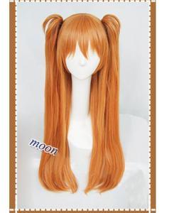 Image 2 - Парик для косплея Langley Soryu АСУКА из аниме, Длинные оранжевые термостойкие синтетические волосы с 2 зажимами для конского хвоста, с шапочкой