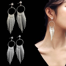 Korean Style Exaggerated Long Tassel Fashion Earrings Rhinestone Large Circle New Ladies Temperament Alloy