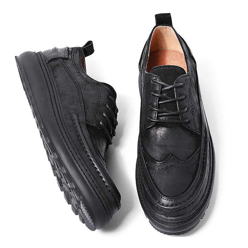 Men's Japan Korean Vintage Streetwear Style Business Casual Genuine Leather Shoes Male Cow Leather High Flat Lace-up Shoes