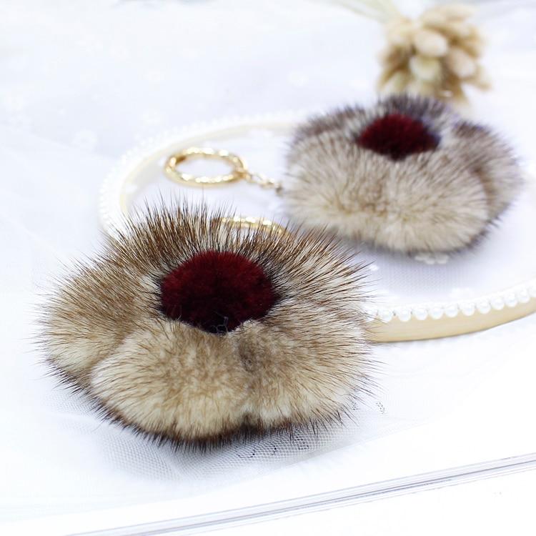 Mink fur small flower doll pendant cute sunflower bag pendant small cherry blossom fur key chain
