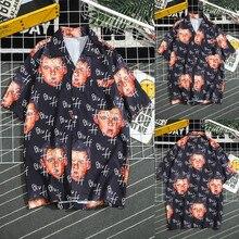 Мужские летние модные рубашки, повседневные пляжные рубашки с принтом Gedrukt mannen Zomer и отложным воротником, приталенная рубашка Korte Mouw