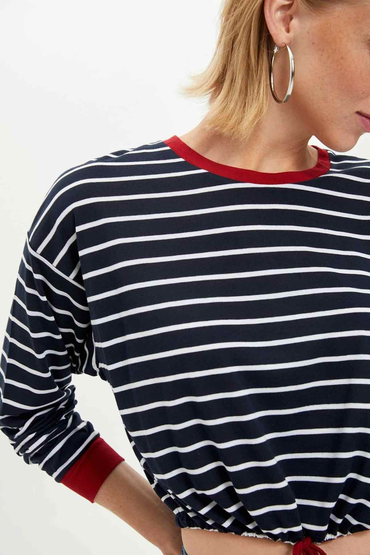 DeFacto Herfst Vrouwen Mode O-hals Gebreide Tops Vrouwelijke Lange Mouwen Gestreepte Losse T-shirt Dames Kleding Nieuwe-M0415AZ19AU