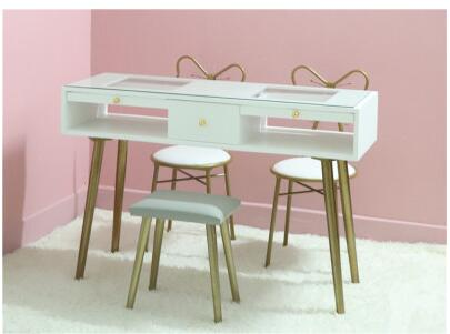Купить с кэшбэком Nail table and chair set combination Nordic net red single double double manicure set special economic ins paint white
