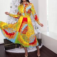 2021 africano elegante plus size feminino vestidos plissados robe cintura alta geométrica impresso ol workwear túnica midi femme