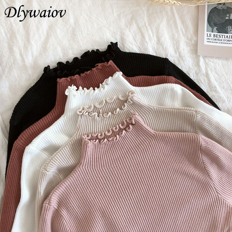 New Ruffled Turtleneck Sweater Women 2019 Autumn Winter Fashion Sweater High Elastic Slim Knit Pullover Female Jumper Pull Femme