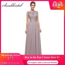 Borduurwerk Elegante Lange Avond Party Jurken Kralen A Line O Hals Illusion Gown Voor Gratuating Datum Formele Prom Vestidos CC5311
