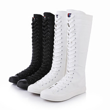 Knee-High Boots Women Shoes Canvas Botas Mujer Zipper Lace-up Flats Shoes Plus Size 35-43 White Black Boots 2019 boots women zipper knee high boots square heel shoes femme buckle punk witer botas mujer plus size shoes 35 43