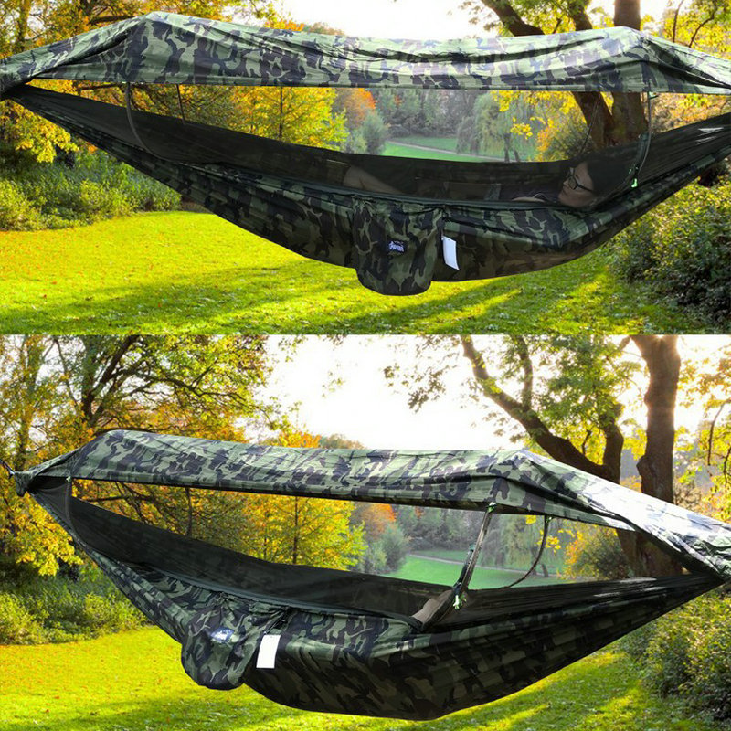 Outdoor Camping Hammock With Awning Mosquito Net High Strength Parachute Fabric 1-2 Person Portable Hanging Bed Hunting Swing