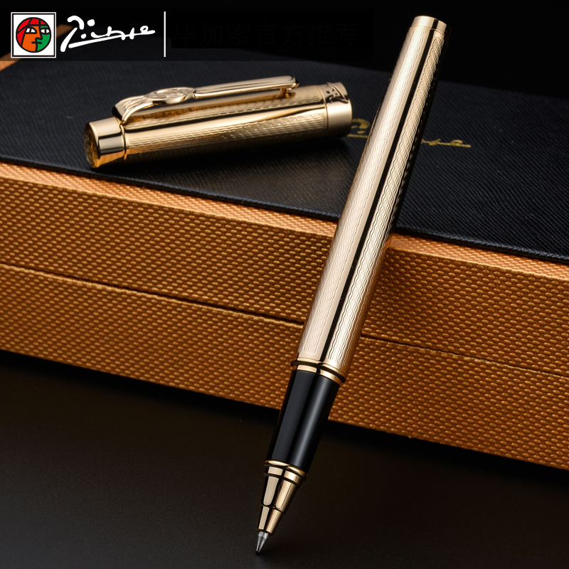 Pimio 933 Luxury Gold Metal Roller Ball Pen with 0.5mm Black Ink Refill Ballpoint Gift Pens for Writing Stationery Free Shipping