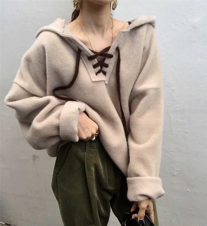 Flectit Hoodies Women 레이싱 울 혼방 한국 패션 후드 티셔츠 Oversized Chunky Hoodie 가을 겨울 탑/