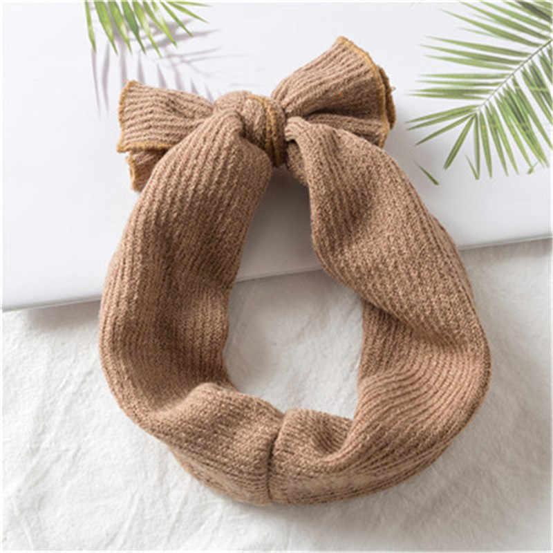 1 pièces bébé filles hiver chaud chapeaux bandeau cache-oreilles noël Crochet bandeau tricoté nœud cheveux bandeau accessoires rose bandeau