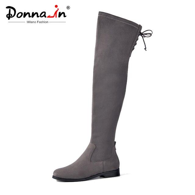 دونا في النساء فوق الركبة الأحذية شقة عادية جولة تو الدانتيل يصل السيدات أحذية عالية جلد طبيعي جديد الخريف الشتاء النساء الأحذية