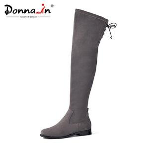 Image 1 - Donna in kadınlar diz üzerinde çizmeler düz rahat yuvarlak ayak Lace Up bayanlar yüksek botları hakiki deri yeni sonbahar kış kadın ayakkabı