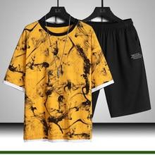 Conjunto casual 2021 moda 2 pcs terno de suor listrado manga curta camiseta shorts conjuntos masculino roupas esportivas verão