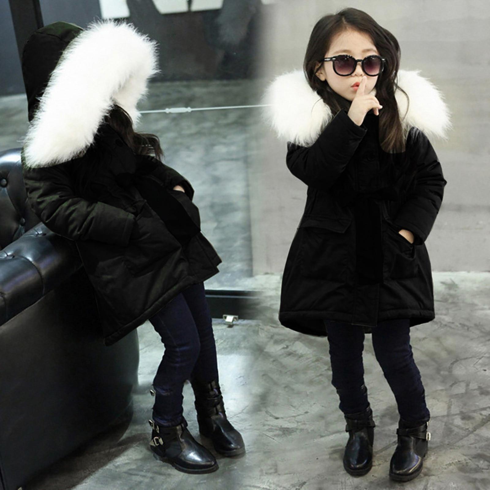 Для детей ясельного возраста, для маленьких девочек, пуховик с меховым воротником верхней одежды с хлопковой подкладкой: куртка детские дли...