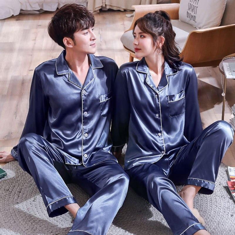 Men's Pajamas Sets Long Sleeve Lovers' Clothes New Silk Satin Sleepwear Home Wear Couples Pyjamas Men Sleep Lounge Pijamas