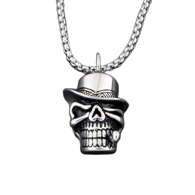 Pirate Necklace Leather Black Punk Pendant Skull Unisex Chain Surfer Jewellery