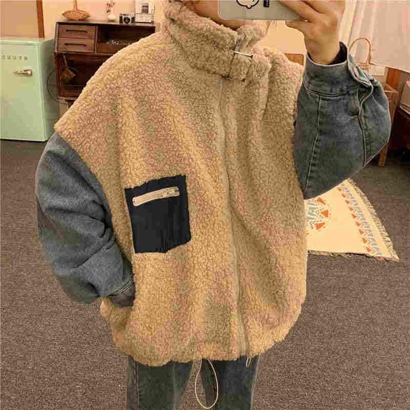 NiceMix 2019 秋パッチワークフェイクコートの冬の女性のデニムジャケット暖かい厚手のジャケットジッパーのジャケット上着