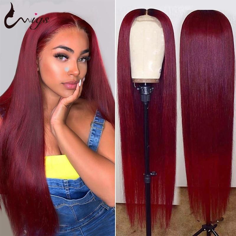 UWIGS 99j peluca con malla frontal Peluca de pelo lacio brasileño 1b/99j encaje granate frente pelucas de cabello humano 180, 250 de densidad pelucas Remy