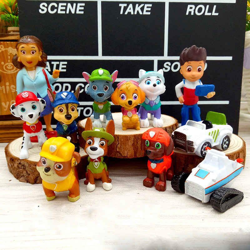 12pcs/lot Paw Patrol Model Miniatures Figurines Toys Home Decoration Crafts Miniatures DIY Creative Doll Puppy Action Figure 30D