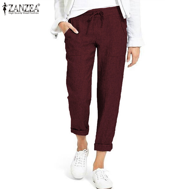 Casual Drawstring Cargo Pants Women's Autumn Trousers 2019 ZANZEA Vintage Elastic Waist Pantalon Woman Palazzo Plus Size Pant