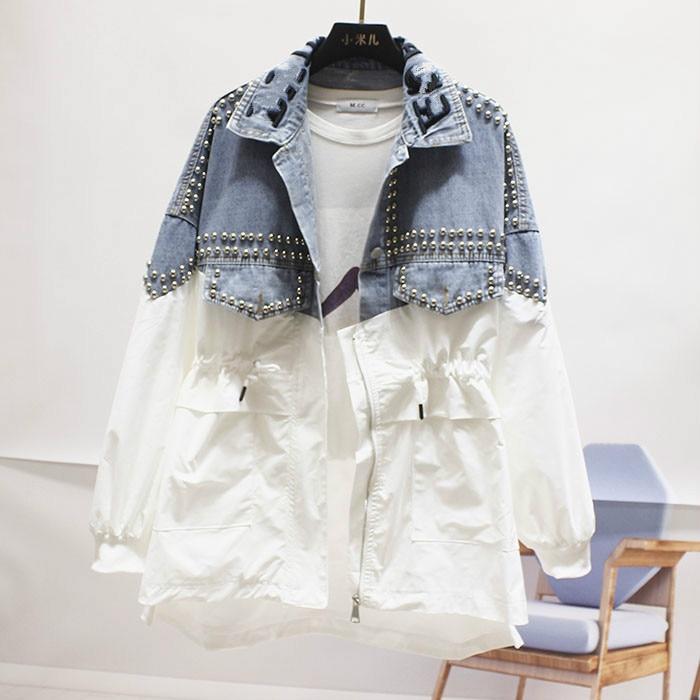 Fall 2019 New Loose Large Size Rivet Bead   Trench   Coat Broken Holes Denim Windbreaker Girls Student Streetwear Coat Coats Femme