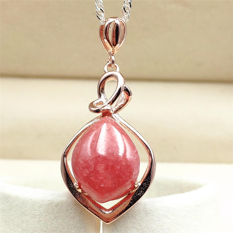 Top Natural Red Ice Rhodochrosite Gemstone Water Drop Women Love Pendant 23x14x10mm AAAA