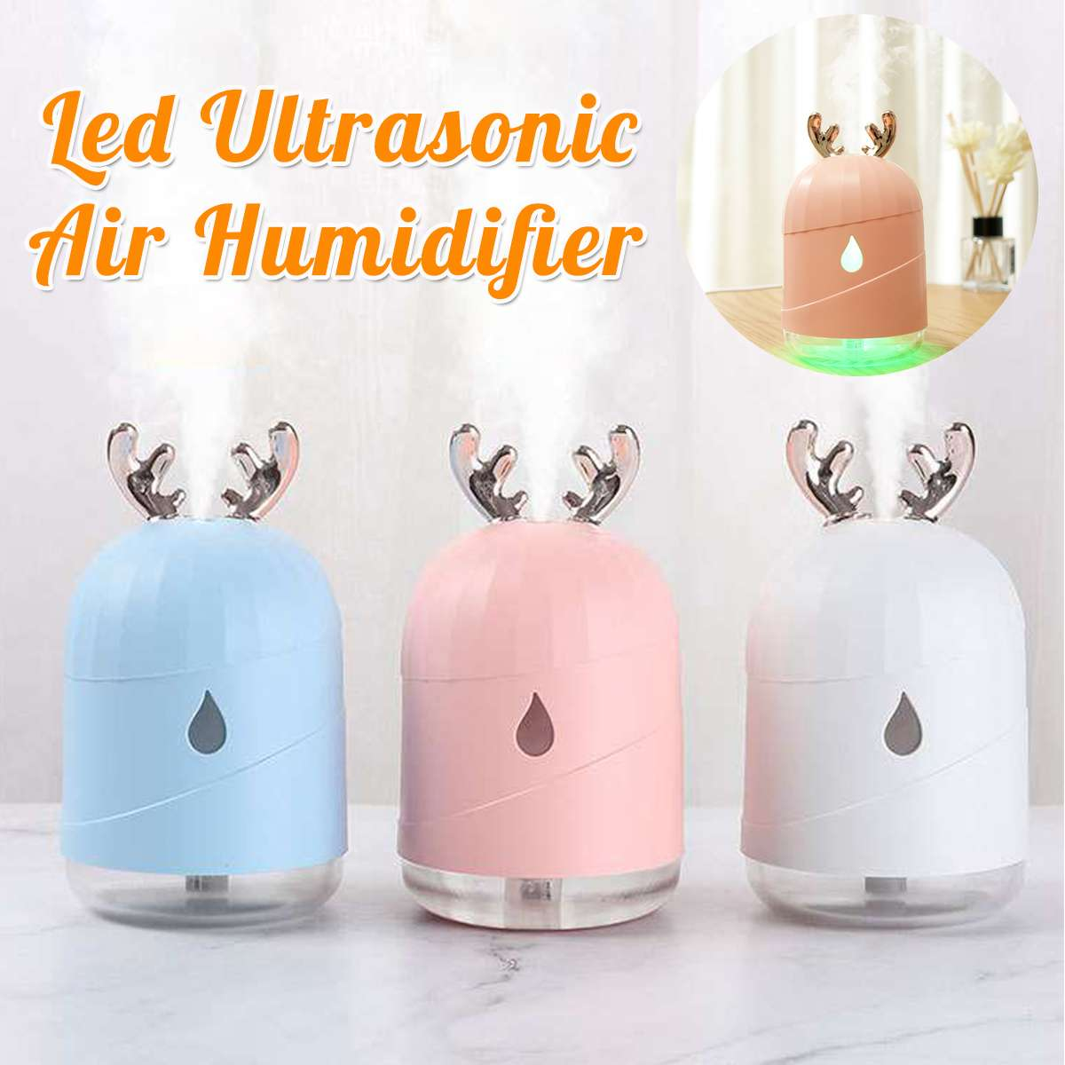 200ML Ultrasonic Air Humidifier Aroma Diffuser USB Desk Mini Humidifier For Home Car Travel With LED Night Light