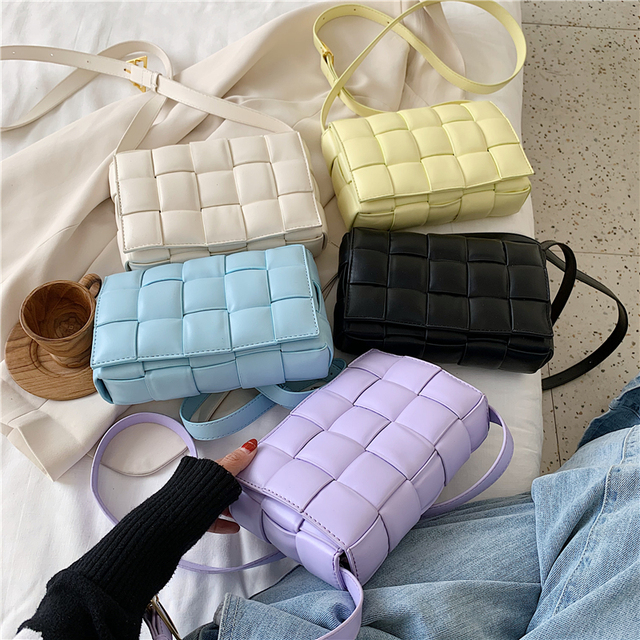Small Weave Flap Bags For Women 2020 New Good Quality Fashion PU Leather Shoulder Crossbody Bag Female Summer Handbags Luggage & Bags