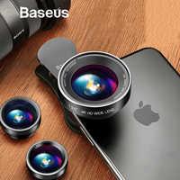 Baseus Phone Lenses Fish Eye Lens +Wide Angle +15X Macro Camera Lens for iPhone X XS Samsung Xiaomi Huawei Zoom Lens Selfie Lens