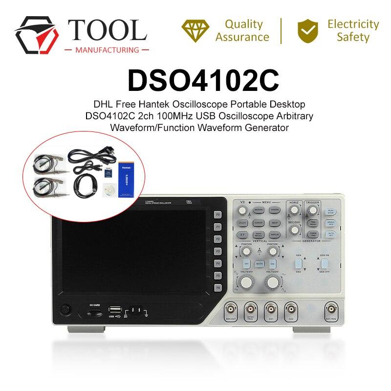 Oscilloscope portatif numérique Hantek DSO4102C USB 100MHz bande passante 2 canaux Osciloscope de forme d'onde analyseur de logique portable|Oscilloscopes| |  -
