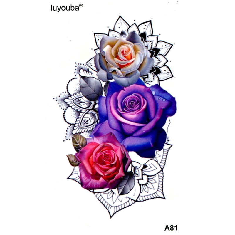 Red Rose Waterproof Temporary Tattoo Men  Flower Henna Flash Tattoo Tatuajes  Tatoo Kids Stickers Temporary Tattoos Sleeves