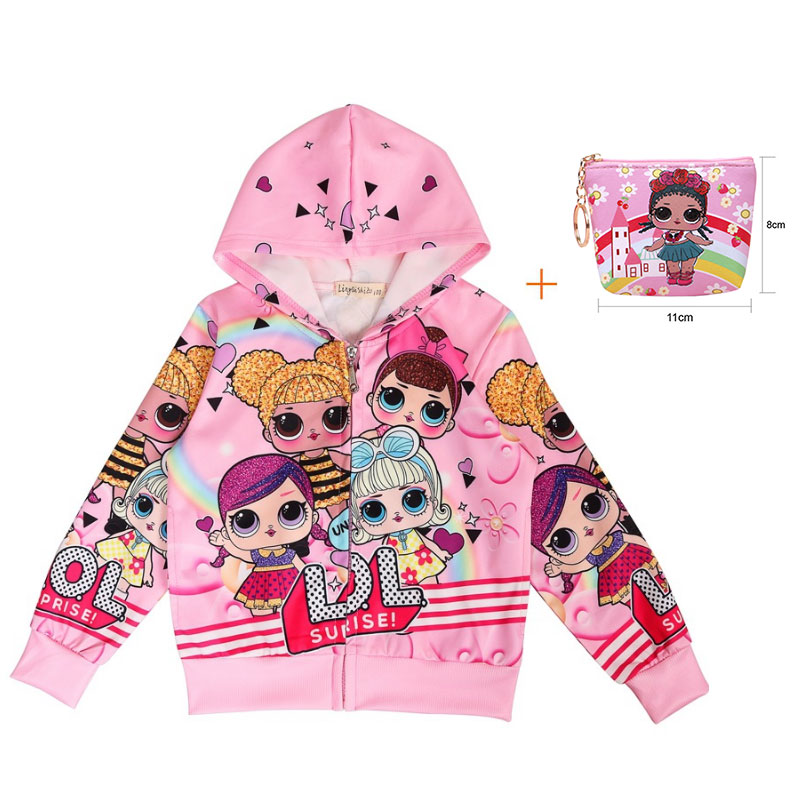 Surprise Doll Cartoon Girl Doll Zipper LOl Jacket New Doll Girl Autumn Rib Coat + Bag 2 Piece Set