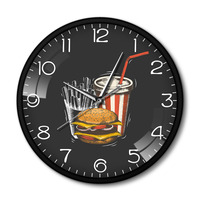 Best Fast Food In Town Hamburger French Fries Soda Traditional Taste Takeaway Fast Food Restaurant Metal Frame Silent Wall Clock