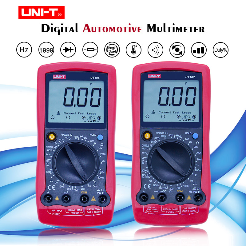 UNI-T <font><b>UT105</b></font>/UT107 Handheld DC/AC Digital Automotive Multimeter Multipurpose Meters Resistance Diode Tester Meter Measuring Tool image