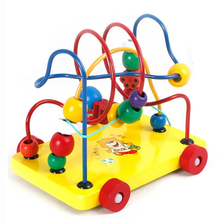 Wooden Toys Intelligence Trailer Bead-stringing Toy Wholesale Baby Beaded Bracelet Infant Educational CHILDREN'S Toy 0-1-2-3-6-Y