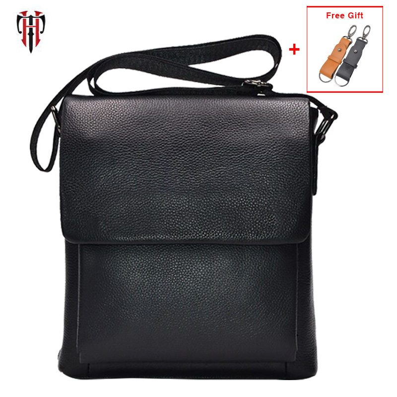 TIANHOO 100% genuine leather messenger bag men genuine leather bag Litchi pattern crossbody flap shoulder bag christmas gift bag