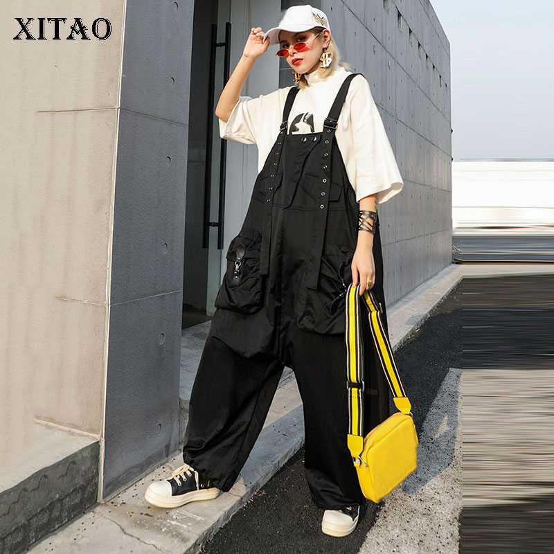 XITAO Straight Slim Off Shoulder   Jumpsuits   Women Pocket Elegant Pocket Black 2019 Autumn Small Fresh Casual Style New GCC1838