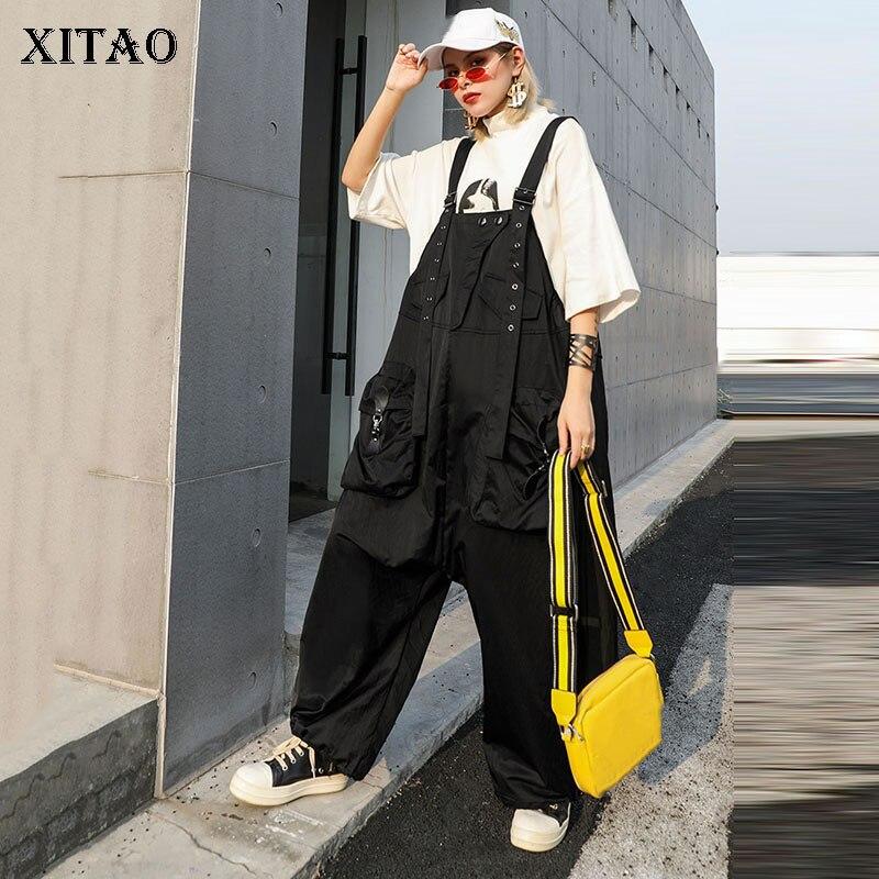 XITAO droite Slim épaule dénudée combinaisons femmes poche élégante poche noir 2019 automne petit frais Style décontracté nouveau GCC1838