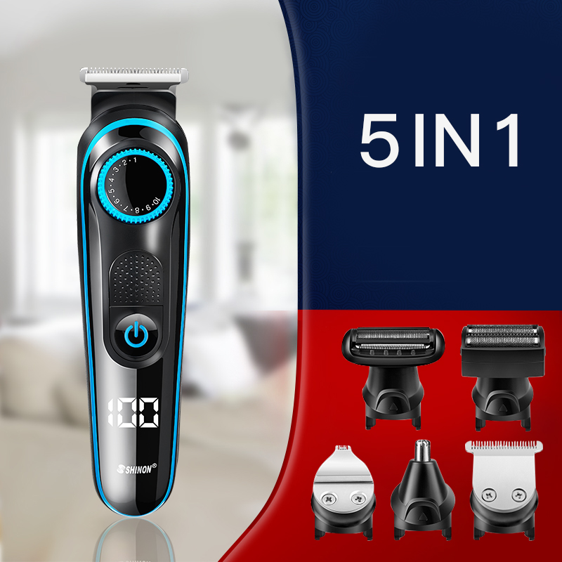 SHINON Hair Clipper 5 In 1 Multifunctional LCD Digital Display Rechargeable Cordless Hair Shavers Haircut Machine Barber Clipper