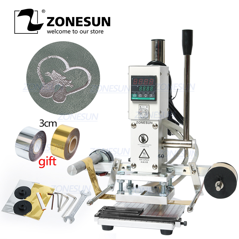ZONESUN ZS90A Digital Manual Leather Wood PVC Card LOGO Metal Hot Foil Stamping Creasing Embossing Machine Heat Press Machine
