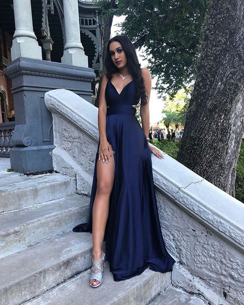 vestidos Sexy Long Evening Dresses V Neck Navy Blue Satin Formal Prom Gowns Leg Slit Girls Graduation Dresses 2020 abendkleider