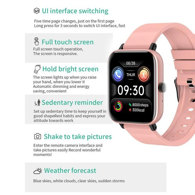 New Smart Watch Electronic Sports HD Touch Bluetooth Call Bracelet with Heart Rate Detector, Pink/Black/Silver Gray/Blue 6