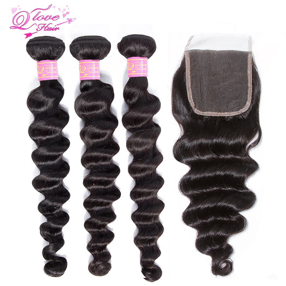 Queen Love Hair Loose Deep Wave Bundles With Closure Natural Color Malaysian Remy Human Hair Wave 3 Bundles With Closure