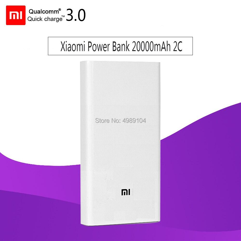 Original xiao mi banco de potência 20000 mah 2c carregador portátil suporte qc3.0 dupla usb mi banco de bateria externa 20000 para telefones celulares