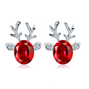 Antler Earrings Fine-Ear-Ornaments New-Products Korean-Version Jewel Crystal Wholesale