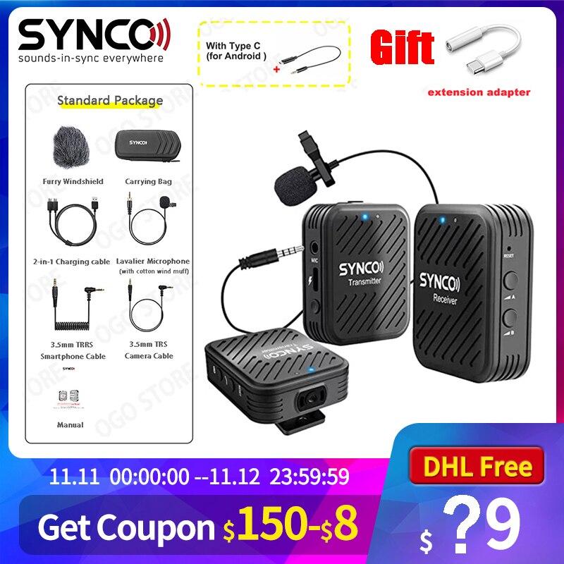 SYNCO-Sistema de micrófono inalámbrico Lavalier, para Smartphone, portátil, tableta DSLR, grabadora, pk comica, G1, G1A1, G1A2