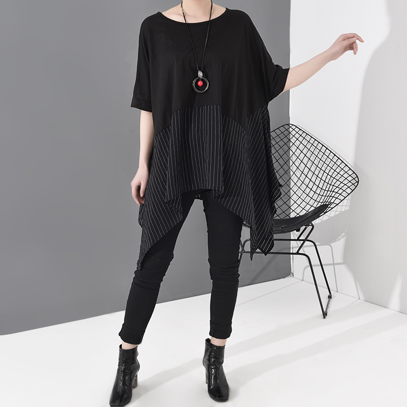[EAM] Women Black Striped Asymmetrical Big Size T-shirt New Round Neck Short Sleeve  Fashion Tide  Spring Summer 2020 JS953 2
