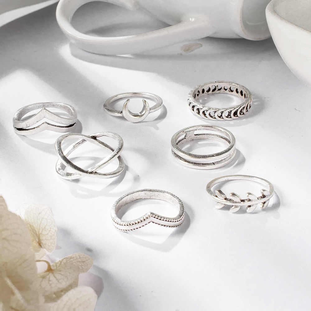 7 ピース/ロットファッションシルバー色の月のオリーブの枝の葉のジオメトリ指輪セット誕生日パーティージュエリーガールフレンド最高のギフト